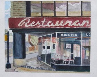 Corner Restaurant Watercolor Painting