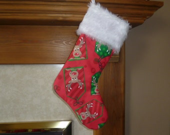 Luxurious Christmas Stocking with Fur Trim, Red with Reindeer Design