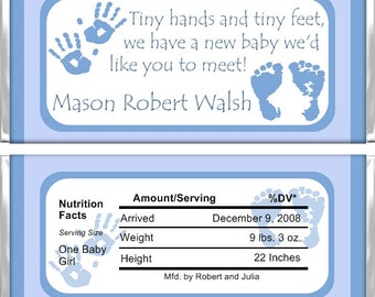 Personalized Candy Bar Wrappers - Birth Announcement - Boy Hands and Feet BA001 (Set of 15)