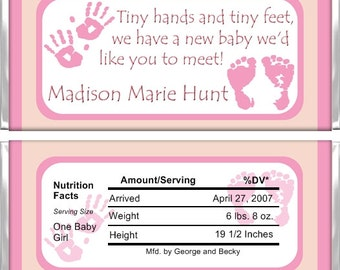 Personalized Candy Bar Wrappers - Birth Announcement - Girl Hands and Feet BA002 (Set of 15)
