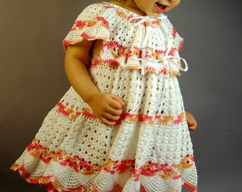 Gorgeous Hand Crocheted cotton yarn dress (sizes  4T 5T 6 )