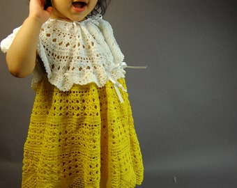 Hand Crochet cotton yarn baby girl toddler one-piece dress (sizes  6-12mo 1T 2T 3T 4T)