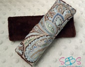 Blue Grey Brown Paisley & Chocolate Brown Minky