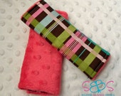 Brown & Pink Plaid Minky Car Seat Strap Covers