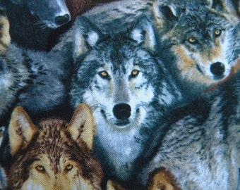 North American Wildlife--Wolf fabric--by the yard--Elizabeth's Studio