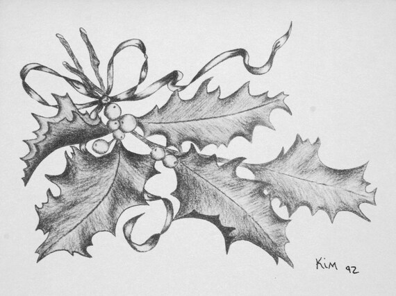 Items similar to Christmas Card Holly Charcoal Pencil Drawing package of 4, Vintage Style on Etsy