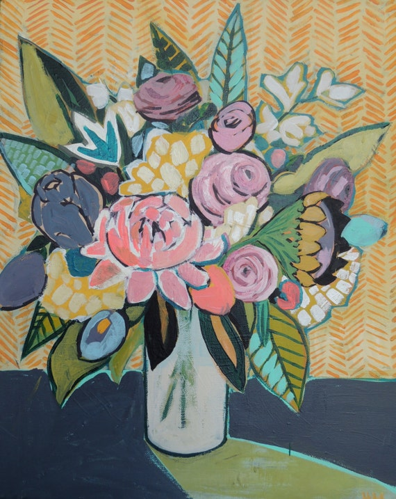 11 X 14 Giclee print of Original abstract floral painting
