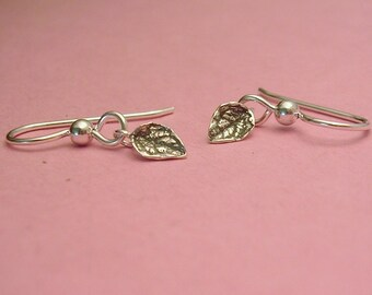 tiny leaf dangle earrings sterling silver nature jewelry