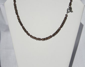 Faceted Rondell Smokey Quartz Necklace