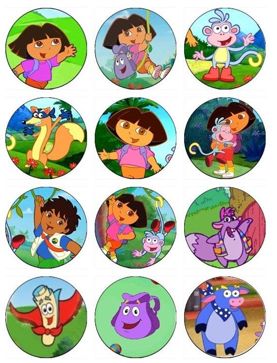 Items similar to Dora the Explorer Edible Cupcake Toppers ...