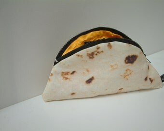 Quesadilla Purse with Orange Lining and Logo