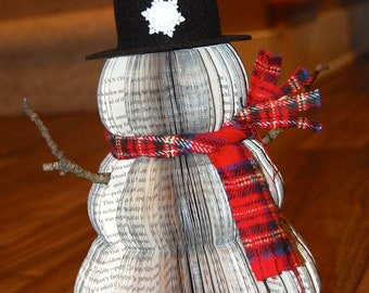 Handmade Vintage Recycled Book Snowman in Silver