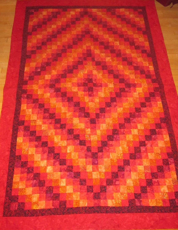 Trip Around The World Quilt Pattern Lap Size : Red Trip around the World Quilt
