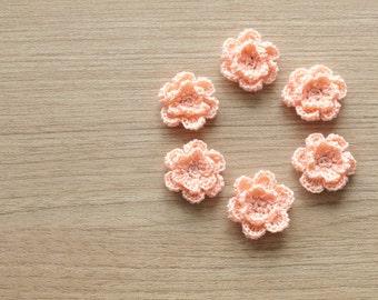 6 pcs of light peach crocheted flowers, 24mm