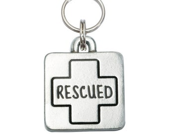 Pewter Square Pet Tag - Rescued