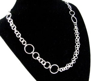 Sterling Silver Organic Linked Necklace
