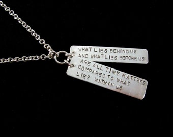 """Sterling Silver Hand Stamped 'Within""""  Tag Pendant on a 24"""" long handmade sterling silver chain."""