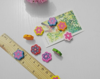 DIYTIM 22mm colorful flower wood bead 20pcs  jewelry findings