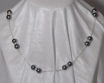 Grey Swarovski Pearl and Crystal Rondelle Necklace