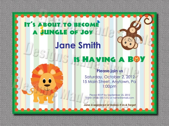 Jungle Themed Baby Gifts Uk : Jungle themed baby shower invitation printable