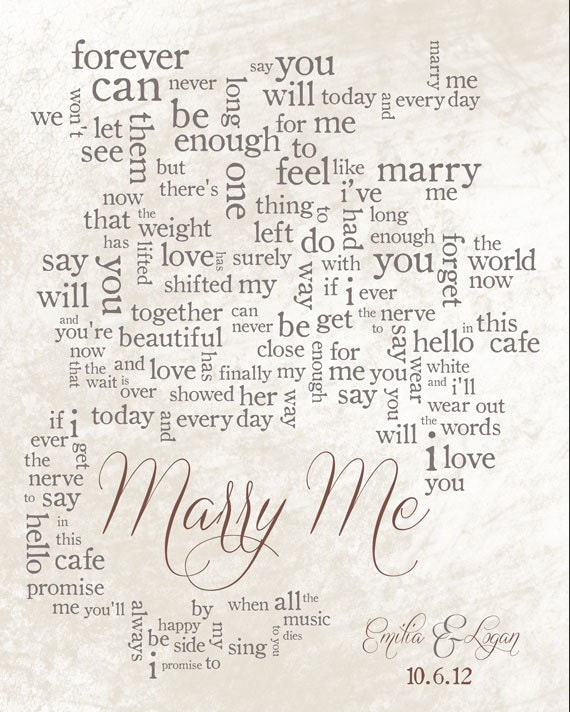 Wedding Song Lyric Art Marry Me By Train Personalized
