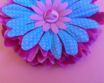 Shades of Pink & Blue with White Polka Dots Heart Detail Flower Hair Clip