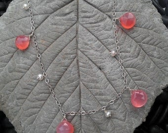 """Long Pink Chalcedony & Freshwater Pearl Necklace 30"""""""