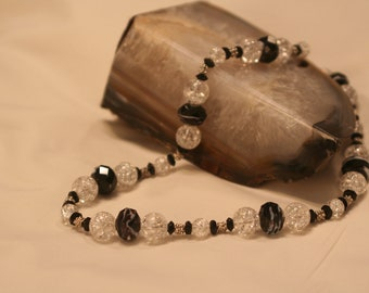 Classic Black and Crystal Necklace (1005)