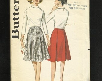 1960's Butterick 3186 Inverted Pleated A-Line Skirt Size 10