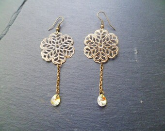 drop of Crystal and bronze earrings