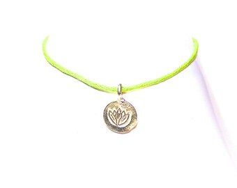 String Lotus Wish Bracelet available in gold or silver - Wish Bracelet - Lotus Wish Bracelet - cotton cord - Choose Your Own Color