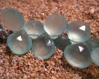 AAA Seafoam Chalcedony Heart Briolette 10ea. 10mm