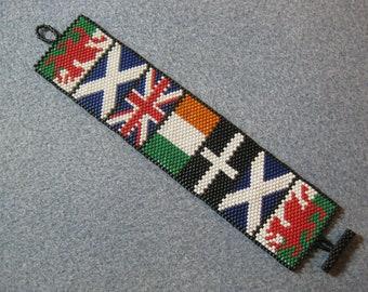 OOAK Fabulous Handcrafted Peyote Celtic Flags Bracelet.