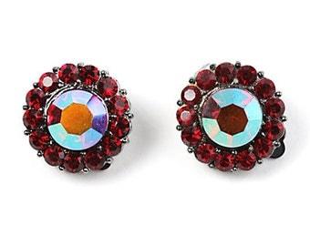 Vintage Art Deco Styled Bold Round Multi Ruby Red Aurora Borealis Rhinestone Clip On Earrings