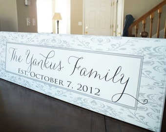 """Personalized Family Name Sign Established Family Name Sign  Damask 7""""x24"""""""