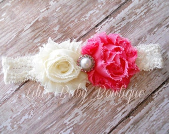 Baby Headband - Pink and Cream Ivory Shabby Chic Flowers on Ivory Lace Headband - Newborn, Baby, Toddler, Girl Headband and Photo Prop
