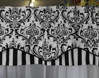 Cheap valance, Closeout sale,Window Treatment Valance, Black and white valance, Sale window valance, Window curtains, Black and white