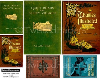 Digital Vintage Antiquarian Book Covers Collage Sheet for ATC (2.5x3.5), Die-Cut (4x6), ACEO, Journal, 13-767