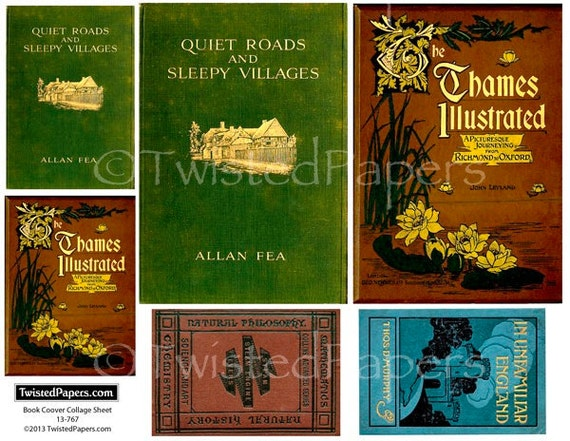 Book Cover Collage Name : Digital vintage antiquarian book covers collage sheet for atc
