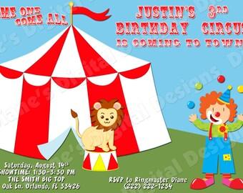 Circus Birthday Invitation (Design 1) - Digital File DIY