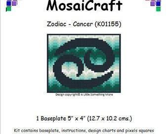 MosaiCraft Pixel Craft Mosaic Art Zodiac Kit 'Cancer' (Like Mini Mosaic and Paint by Numbers)