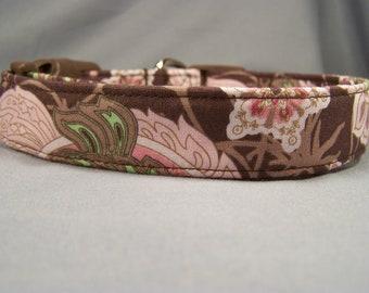 Pink Paisley on Brown Dog Collar