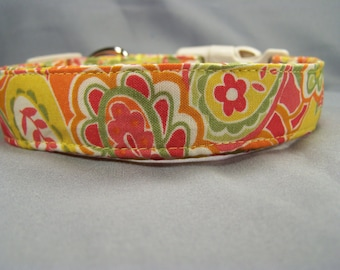 Yellow and Orange Paisley Dog Collar