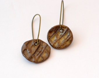 Textured Brown Ceramic Earrings - Stoneware Earrings with Antique Brass Earwires