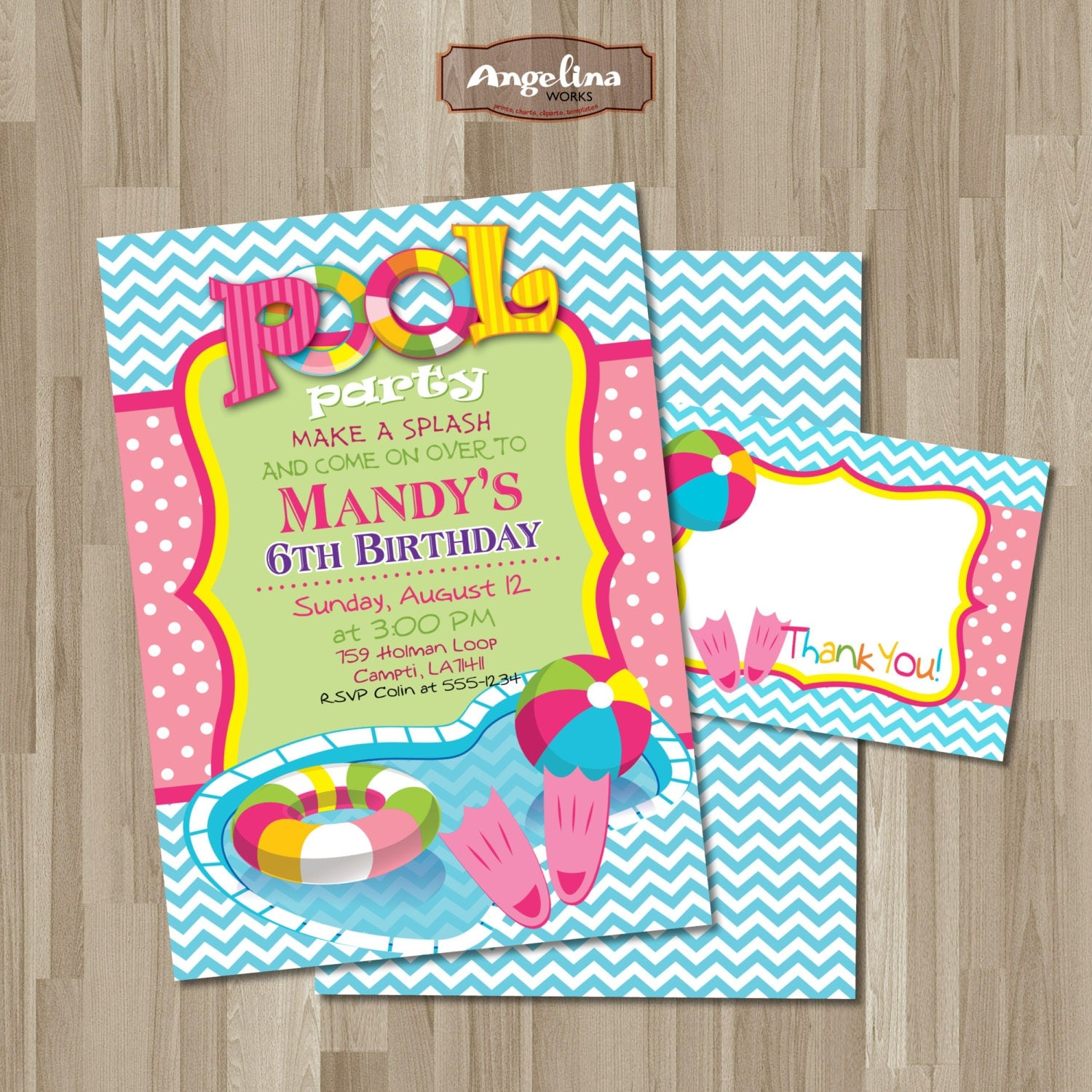 Double Sided Pool Party Birthday Invitation DIY card Pool – Homemade Pool Party Invitations