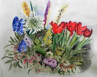 Original Watercolor of Spring Bulbs  18 x 20