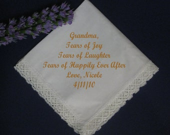 3 - Personalized Wedding Handkerchief for your Grandmother/Grandfather