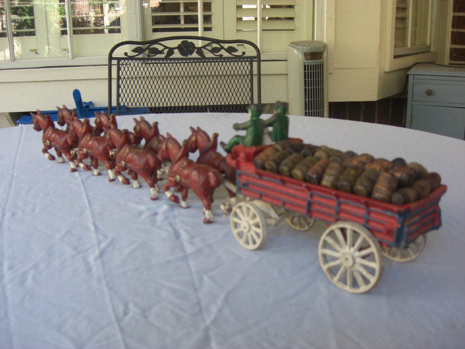 Antique Cast Iron Budweiser Clydesdale Wagon And Horses