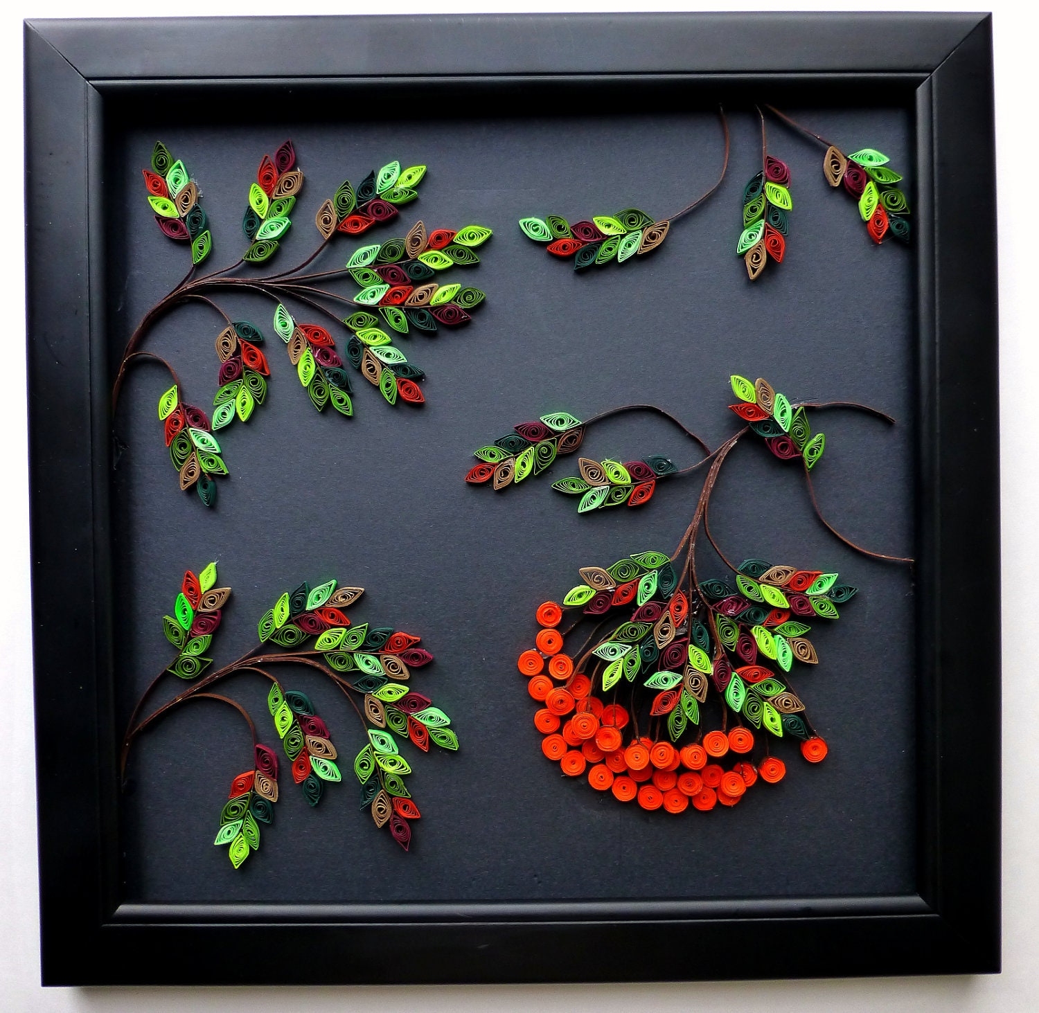 Wall decor paper quilling rowan tree Wall art paper designs