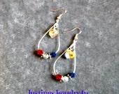 Red,White& Blue Swarovski Heart Teardrop Earrings